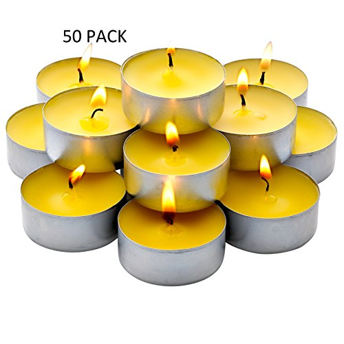 Light In The Dark Bulk Pack - 60 Pack Citronella Tealight Candles - Summer Yellow - Indoor/Outdoor
