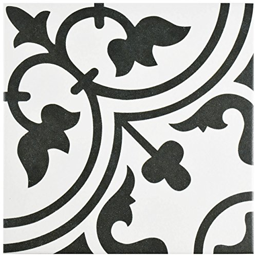 White Porcelain Floor Tiles (SomerTile FCD10ARW Burlesque Porcelain Floor and Wall Tile, 9.75