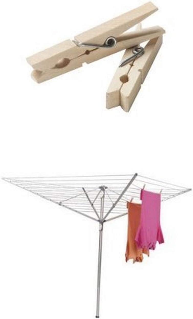Household Essentials Height Adjustable Outdoor Umbrella Drying Rack Bundle   Aluminum   Includes 96 ct Clothespins