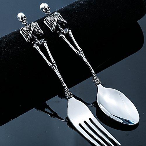 (Stainless Steel Skeletons Cutlery Skeleton Fork Spoon Skull Halloween Tableware Family Party Gift Metal Flatware)
