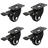 OCR 38MM Caster Rubber Base 360 Degree Caster Rubber Wheel With Brake for Shopping carts, Hand Trolley, Tools, Movable Furniture,Office Chair 4 Pcs Black (1.5''-Top Plate Wheel)