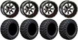 Bundle - 9 Items: STI HD4 Black Golf Wheels 12' 23x10.5-12 X-Trail Tires [for E-Z-GO & Club CarGolf Carts]