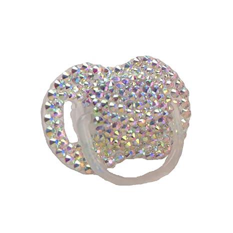 Dollbling personalizado única chispa rhinestones/blanco perlas cristales bebé chupete, 1pc (AB Cristal)