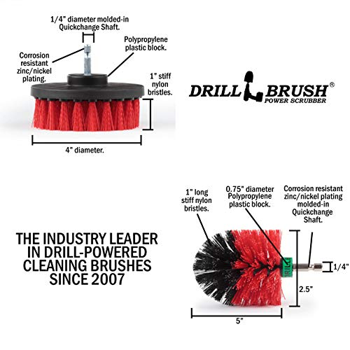 Stiff Bristle Spin Brush Cleaning Kit - Clean and Remove Algae, Mold, Mildew, and Moss - Deck Brush- Granite, Marble Cleaner - Patio, Concrete Bird Baths, Garden Fountains - Monuments and Headstones by Drillbrush (Image #3)