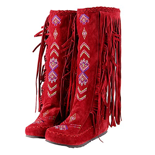 Inornever Knee High Boots for Women Moccasins Embroidered Fringed Booties Winter Flats Suede Long Snow Boots Red 10 B (M) US