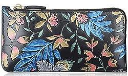 PIJUSHI Designer Floral Women's Genuine Leather Zipper Wallet Card Case Purse 1006 (Glod Floral)