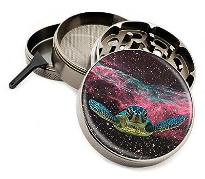 "Space Turtle 4 Piece Zinc Titanium Metal Herb Grinder 2.5"" Flying High Trippy Turtles"