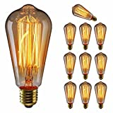 KINGSO Vintage Edison Bulbs 60W Squirrel Cage Filament Incandescent Antique Dimmable Light Bulb for Home Light Fixtures E27 Base ST64 110V - 10 Pack