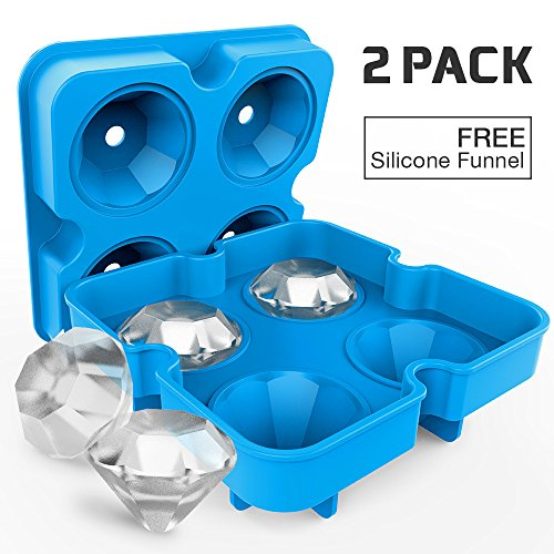 2 Pack Diamond-Shaped Silicone Ice Cube Trays with Lids, Bella Vino BPA-Free Stackable Easy Release Ice Molds Multifunctional Storage Containers for Ice, Whiskey, Candy and Chocolate (Blue-2Pack)