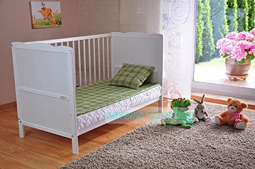 White Solid Wood Baby Cot Bed Teething Rails Aloe Vera Foam Mattress Converts into a Toddler Bed 3 Position Mattress Base