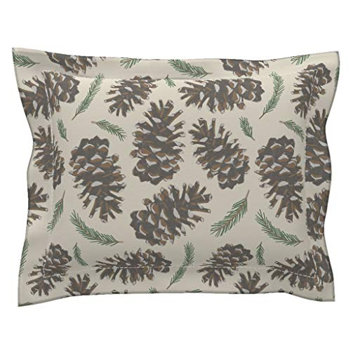 Roostery Pine Cones Flanged Pillow Sham Pine Cones Woodland Brown Green White Pine Cones Pine Trees Trees Cabin Rustic Mountain by Christina Steward 100% Cotton - Sham Christina Standard