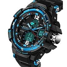 2016 New Brand SANDA Fashion Watch Men G Style Waterproof Sports Military Watches Shock Men's Luxury Analog Quartz Digital Watch (Blue)