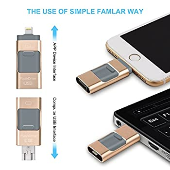 Usb Flash Drives For Iphone 32 Gb 3.0 Pen-drive Memory Storage 3 In 1, Hmfire Otg Jump Drive Lightning Memory Stick External Storage, Usb 3.0 Flash Drives For Apple Ios Android Computers (Gold) 2