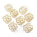 Feyarl Gold Napkin Rings Sparkly Crystal Beads Napkin Holders 8pcs for Wedding Centerpieces Special Occasions Celebration Romantic Candlelit Banquet Festival Decoration