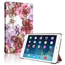 TNP iPad Mini 4 Case (Floral Pink) - Ultra Slim Lightweight Folio Smart Cover Stand with Auto Sleep Wake Feature and Hard Rubberized Back for Apple iPad Mini 4 7.9 Inch Tablet 2015 Release
