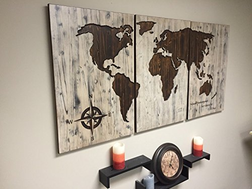 Superior Carved Wood World Map Wall Art, 3 Panel, World Map Home Decor, World Map  Decal, World Map Poster, Distressed, Chic, Shabby, Housewarming, Wooden Map    Buy ...