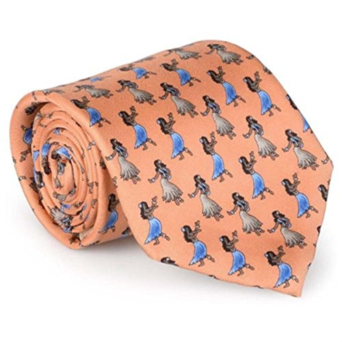 Tommy Bahama Mens Luau Dance Silk Hula Girls Neck Tie Orange O/S