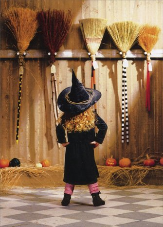 Funny Halloween Greetings (Little Witch Choosing A Broom Funny Halloween)