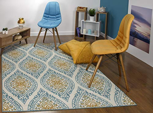 Antep Rugs Kashan King Collection Polypropylene Indoor Area Rug (Blue/Cream, 5' x 7')