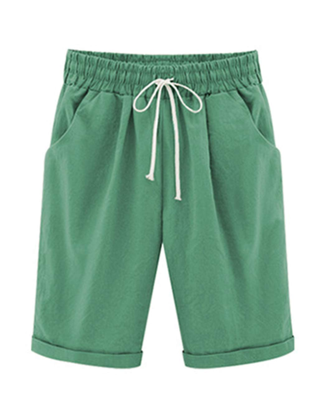 Vcansion Women's Loose Elastic-Waisted Bermuda Drawstring Casual Shorts Grass Green Asian 3XL/US 8-10 by Vcansion