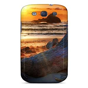 High Grade NikRun Flexible Tpu Case For Galaxy S3 - Driftwood On The Beach At Sunset Hdr