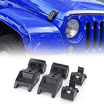 1 Pair AL4X4 Latch Locking Hood Catch Kit for Jeep Wrangler JK 2007-2017 Black Stainless Steel