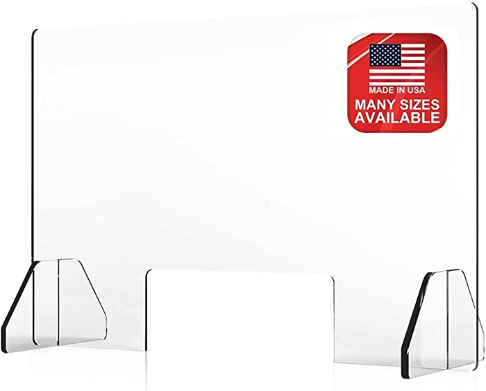 Countertop Desk Sneeze Guard- Protective Partition, Plexiglass Shield Barrier for Coughing, Sneezing, Droplets - Acrylic Screen Divider Panel- Transaction Window for Office, Cashier, Reception