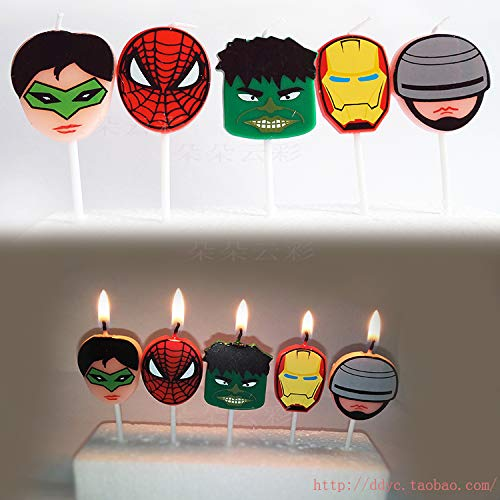 - Astra Gourmet Cartoon Superhero Birthday Candles Kids Child Boys Girls Cute Cartoon Novel Candles Cake Decoration - 5pcs a Set
