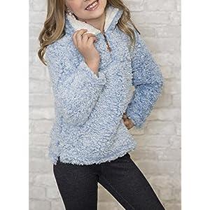 ZESICA Girls Kids 1/4 Zip Pebble Pile Sherpa Fleece Pullover Jacket Tops,Blue,Large