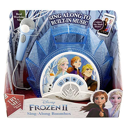 512vsXYXLQL - Frozen 2 Sing Along Boombox with Microphone, Built in Music, Flashing Lights, Real Working Mic for Kids Karaoke Machine, Connects Mp3 Player Aux in Audio Device