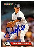 Autograph Warehouse 42317 Sam Militello Autographed Baseball Card New York Yankees 1993 Topps Toys R Us No. 72