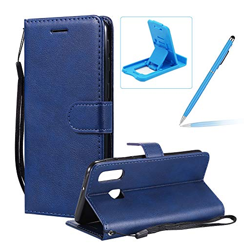 Price comparison product image Strap Leather Case for Galaxy A40, Wallet Flip Cover for Galaxy A40, Herzzer Stylish Elegant Blue Solid Color Magnetic Folio Smart Stand Cover with Soft TPU