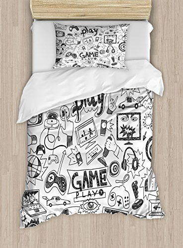 Ambesonne Video Games Duvet Cover Set Twin Size, Monochrome Sketch Style Gaming Design Racing Monitor Device Gadget Teen 90's, Decorative 2 Piece Bedding Set with 1 Pillow Sham, Black (Black Monochrome Monitor)