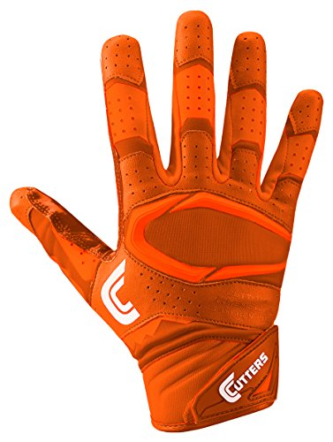 Cutters Gloves Rev Pro 2.0 Receiver Football Gloves, Solid Orange, Large Cutters Football Receiver Glove