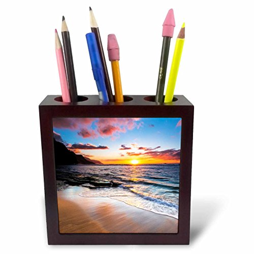 3dRose Danita Delimont - Sunsets - Sunset over the Na Pali Coast, Haena State Park, Kauai, Hawaii - 5 inch tile pen holder (ph_278944_1) by 3dRose