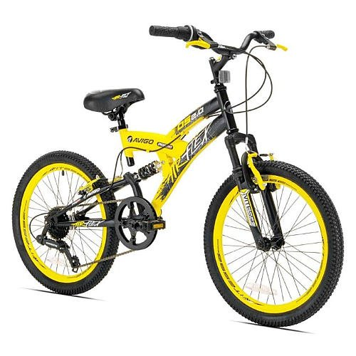 20'' Boys Avigo Air Flex Dual Suspension - Yellow Black - Balance Bike - Ride-ons - Outdoor Sports - Air Flex Dual Suspension - Long-lasting Quality and Saving Value - Built with the Latest Bicycle Safety Features by Avigo