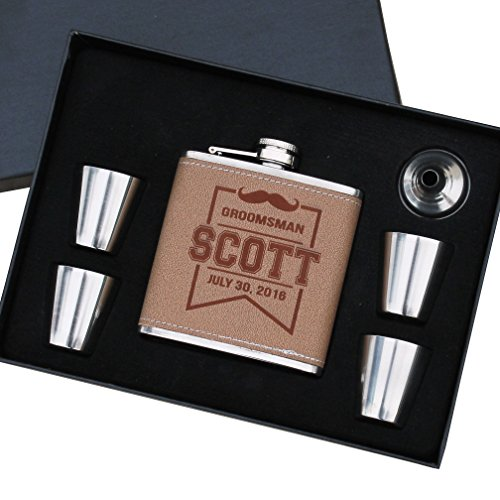 - Personalized Wrapped Flask Set - Groomsmen Gift Bachelor Party Hip Spirit Flask - Custom Engraved Monogrammed for Free
