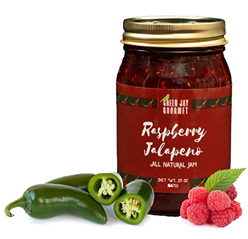 (Green Jay Gourmet Raspberry Jalapeno Jam - All-Natural Raspberry Jam with Red Raspberries, Jalapeno Peppers & Lemon Juice - Vegan, Gluten-free Jam with No Preservatives - Made in USA - 20 Ounces)