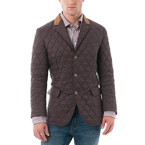 Chama Men's Quilted Notched Lapel Blazer Jacket (3XL, Brown) - Notched Lapel Blazer