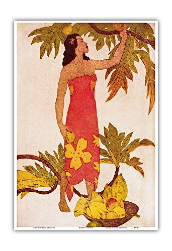 Breadfruit Girl, Hawaii - Menu Cover for The Royal Hawaiian Hotel (Pink Palace of the Pacific) - Vintage Color Aquatint Etching by John Melville Kelly c.1940s - Hawaiian Master Art (The Royal Hawaiian Hotel)