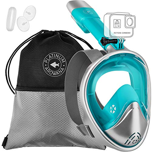 Full Face Snorkel Mask Panoramic View Shallow Dive Mask Curved Face Design Leak Proof 180 Degree Viewing Anti-Fog Anti-Leak Tubeless Scuba Mask Gear Dry Top Water Blocking System Technology Easy Breat -