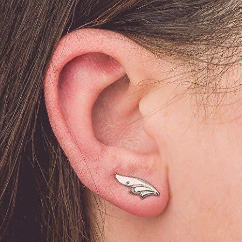 Tiny Stylized Leaf Ear Climber Earrings in Sterling Silver -