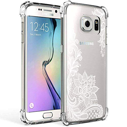 Galaxy S7 Case Clear with Lace Design Shockproof Protective Case for Samsung Galaxy S7 5.1 Inch Cute Henna Flowers Pattern Flexible Soft Slim Rubber White Floral Cell Phone Back Cover for Girls Women (Mobile Phone Back Cover)