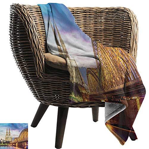 (Michaeal European,Throw Blanket,Illuminated Dom in Cologne Old Bridge and Rhine Sunset European Culture Print 70