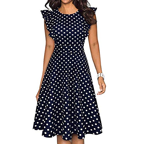 Toponly Cocktail Midi Dress Women Vintage Dot Printed Ruffles Sleeveless Casual Dress Party Long Blouse Dresses Summer Casual ()