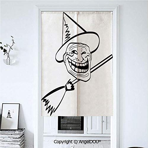 (AngelDOU Humor Decor Doorway Kitchen Cafe Half Tube Curtain Halloween Spirit Themed Witch Guy Meme LOL Joy Spooky Avatar Artful Image for Home Party Decoration. 33.5x47.2)