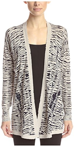 Cullen Women's Reversible Tiger Print Cardigan, Animal Print, M Cullen Cotton Sweater