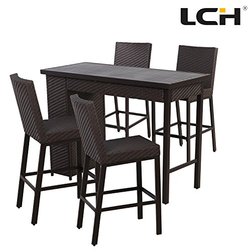 LCH 5 Piece Wicker Bar Set Patio Weather-Resistant Rattan Furniture with Table & 4 Bar stools Garden Dining Set with 2 Storage Shelves Perfect for Backyards Porches Pools, Brown