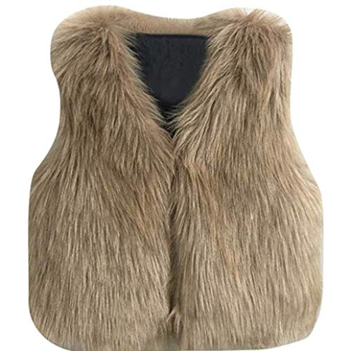 XiangYue Baby Girls Winter Faux Fur Waistcoat Kids Warm Outwear Thick Coat Fashion Vest Clothes