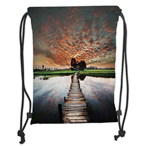 New Fashion Gym Drawstring Backpacks Bags,Apartment Decor,Old Boardwalk on Tropical River to the Fresh Meadow in the Dusk Burma Myanmar Decorative, Soft Satin,Adjustable String -
